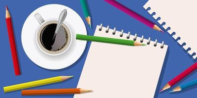 weißes Blatt zum Zeichnen mit Buntstiften vektor