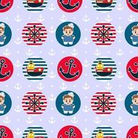nahtloses Muster mit Segelabzeichen in den Farben Rot und Blau vektor