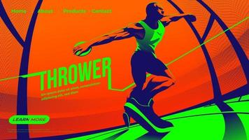 Vektor-Illustration für UI oder Landing Page des Werfens des Diskus-Sports mit männlichem Athleten, der sich auf das Werfen konzentriert vektor