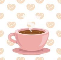 kaffekopp med bönor kaffe älskar sömlösa mönster vektor