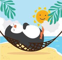 süßer Pinguin, der in der Hängematte, Sommerstrand schläft vektor