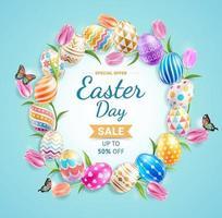 glad påskdag färgglada olika mönster påskägg med tulpaner och fjärilar på blå bakgrund. vektor illustrationer.