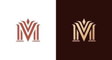 eleganter edler Buchstabe m Logo vektor