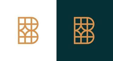 einfaches edles Buchstabe b Logo mit geometrischem Muster vektor