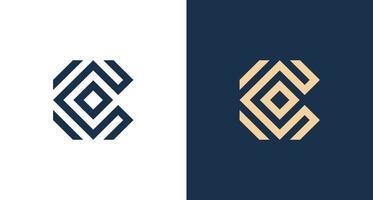 einfaches abstraktes Buchstabe c Logo im rechteckigen Muster vektor