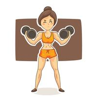 tecknad kvinna bodybuilder vektor