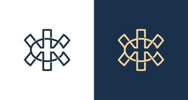 abstrakt bokstaven c, h, x beskrivs logotyp mall vektor