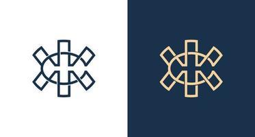 abstrakter Buchstabe c, h, x umrissene Logo-Vorlage vektor