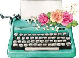 Vintage Aquarell Türkis Schreibmaschine leere Blatt und rosa Rosen vektor