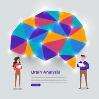 Gehirnanalyse mit flachem Design. Vektorillustration vektor