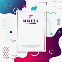 kreative Vorlage Rechteck Rahmen Rahmen blau und rosa geometrischen Kreis, fließende Form, Wellenlinie auf weißem Hintergrund Memphis-Stil. vektor