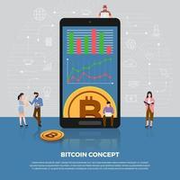 flaches Designkonzept der Bitcoin-Kryptowährung