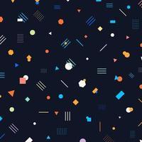 abstrakte verschiedene geometrische Formen Musterkreise, Dreiecke, Linien, Quadrate, Sechsecke helle und bunte Farbe auf dunklem Hintergrund. vektor