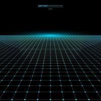 Blaue Gitterperspektive des abstrakten Technologie-futuristischen Konzepts auf schwarzem Hintergrund und Beleuchtung mit Raum für Ihren Text vektor