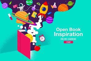 Buchinspiration, Online-Lernen, Lernen von zu Hause aus, zurück in die Schule, flacher Designvektor. vektor