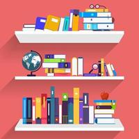 Bildung und Lernen mit Büchern, flacher Illustrationsstil