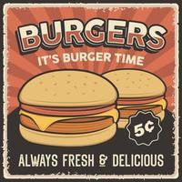 Retro Vintage Burger Poster Zeichen vektor