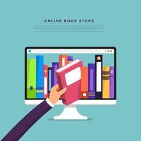ein Buch von einem Computerbildschirm auswählen. Online-Buchladen vektor