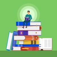 mannen sitter på en hög med böcker och läser vektor