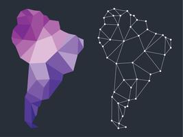 Lowpoly Style Sydamerika Karta vektor