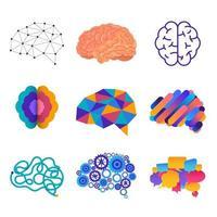 Satz menschlicher Gehirne in verschiedenen Grafikstilen vektor