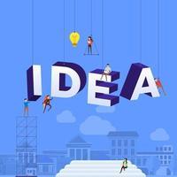 team hårt på att konstruera ordet idé
