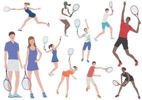 Tennisspieler Vektor flache Illustration gesetzt. einfach zu verwendende Illustrationen isoliert auf weißem Hintergrund.