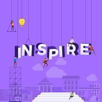 team hårt på jobbet konstruera ordet inspirera