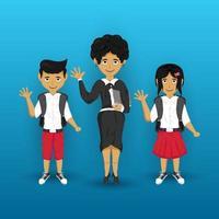 Lehrer mit zwei Schülern Charaktere für den Schulanfang vektor