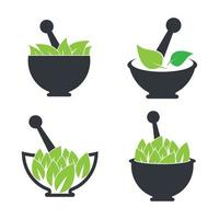 Naturmedizin Logo Bilder Illustration Set vektor