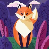 buntes Illustrationsporträt des niedlichen roten Fuchses im Wald bei Sonnenuntergang. handgezeichnetes wildes Tier. vektor