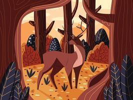 buntes Illustrationsporträt des schönen Rotwildhirsches im Wald bei Sonnenaufgang. handgezeichnetes wildes Tier. Vektor. vektor