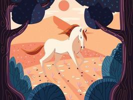 buntes Illustrationsporträt eines schönen Pferdes in der Natur. wildes Tier in Wald und Wiese. handgezeichnetes Tier. Vektor. vektor