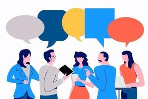 Geschäftskollegen diskutieren mit Sprechblasen vektor