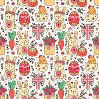 glad påskhelg klotter konst. kanin, kanin, christian cross, kaka, kyckling, ägg, höna, blomma, morot. sömlösa mönster, konsistens, bakgrund. förpackningsdesign.