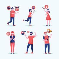människor i olika kontaktlösa aktivitetssamlingar