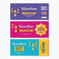 buntes Ramadhan-Gutscheinverkaufsdesign vektor