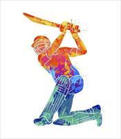 abstrakter Schlagmann, der Cricket vom Spritzen der Aquarelle spielt. Vektorillustration von Farben vektor