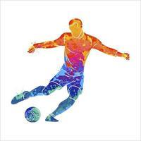 abstrakt professionell fotbollsspelare snabbt skjuta en boll från stänk av akvareller. vektor illustration av färger