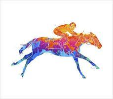 abstraktes Rennpferd mit Jockey vom Spritzen der Aquarelle. Pferdesport. Vektorillustration von Farben vektor