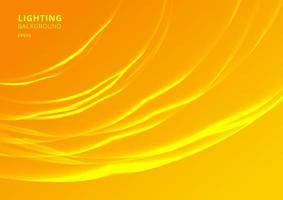 abstrakt belysning böjda linjer på gul bakgrund vektor