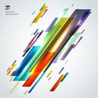 abstrakte kreative bunte geometrische Formen und Linien diagonal mit Lichteffekt auf weißem Hintergrund. vektor