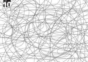 kreatives Gewirr des abstrakten Kritzelns auf weißem Hintergrund. Hand gezeichnete Skizze Skizze Chaos Gekritzel Muster. vektor