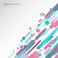abstrakte geometrische Formen dynamische Komposition aus verschiedenen blauen und rosa Farbe gerundeten Linien diagonal auf weißem Hintergrund. vektor
