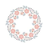 Frühlings- und Sommerblumenkranz. flacher abstrakter Vektorgartenrahmen, Frauentag romantischer Feiertag, Hochzeitseinladungskartendekoration.