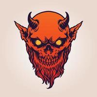röd djävulens satanhorn med skägg vektor
