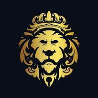 lejonhuvud guld krona design ornament vektor