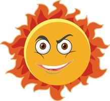 Sonnenkarikaturfigur mit Gesichtsausdruck auf weißem Hintergrund vektor