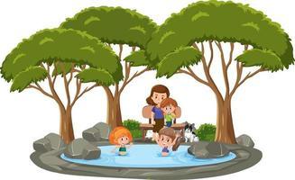 många barn som simmar i dammen med många träd på vit bakgrund