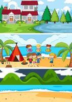 uppsättning olika horisontella scener bakgrund med doodle barn seriefigur